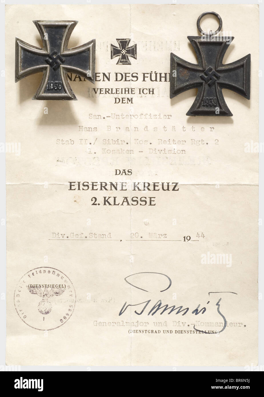 A Bilingual Citation For The Iron Cross 2nd Class The Reverse Side