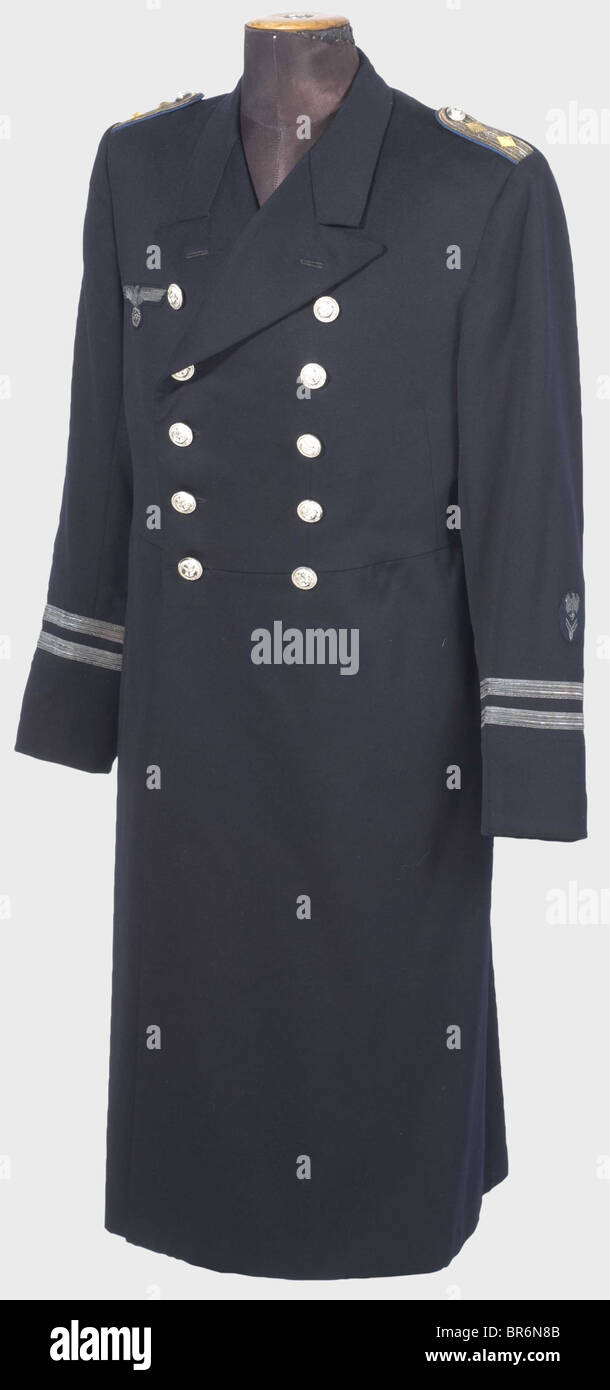 A dress uniform coat for a senior administrative official., Private purchase piece of fine, navy blue cloth with - Stock Image