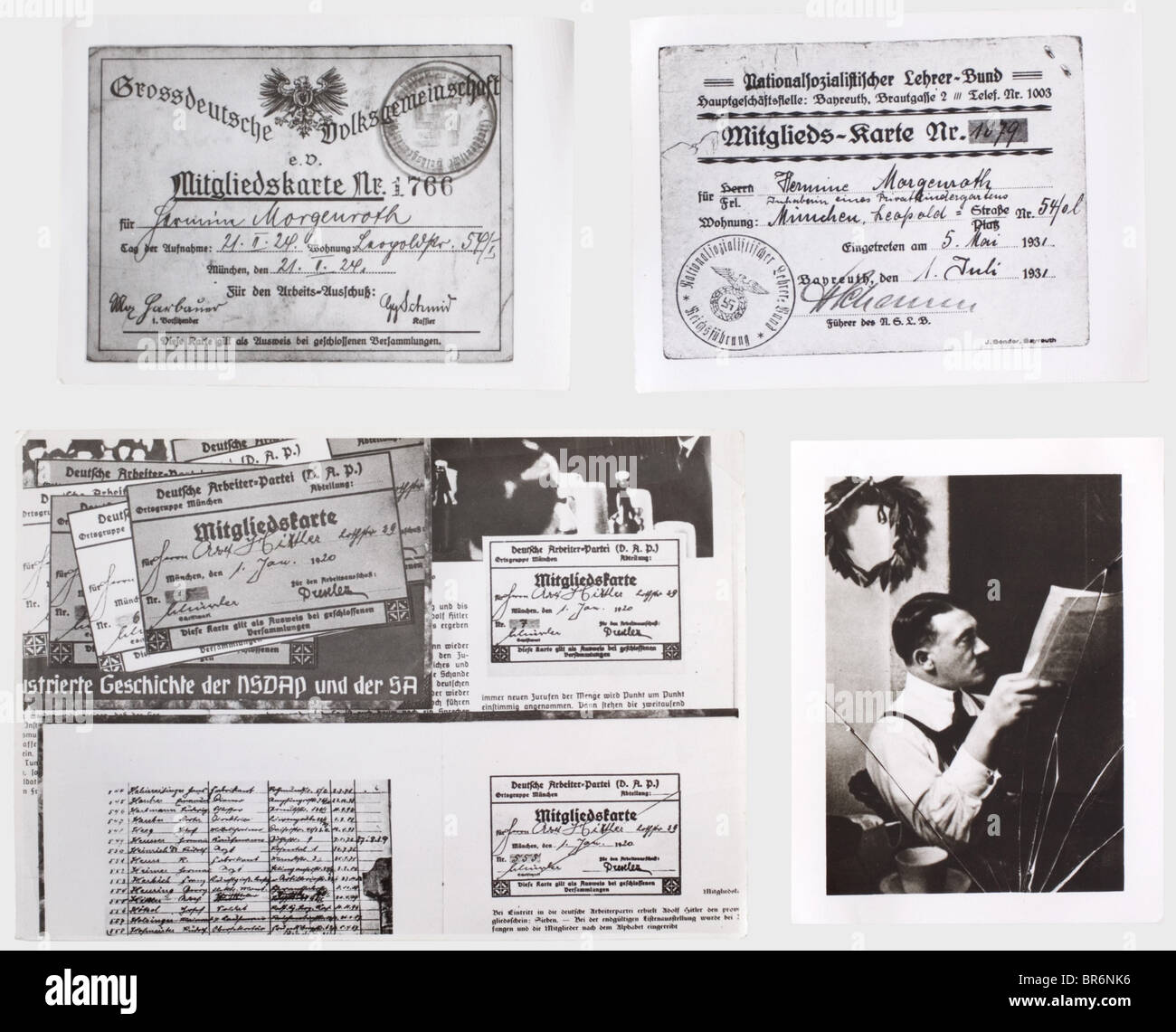 More than 500 photographs from the central archive of the NSDAP., Various sizes, nearly all pictures have the stamp - Stock Image