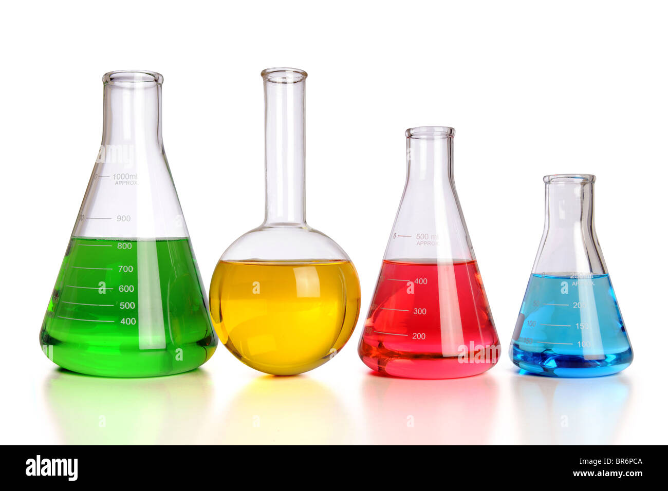 Laboratory glassware with reflections on table isolated over white background - With Clipping Path - Stock Image