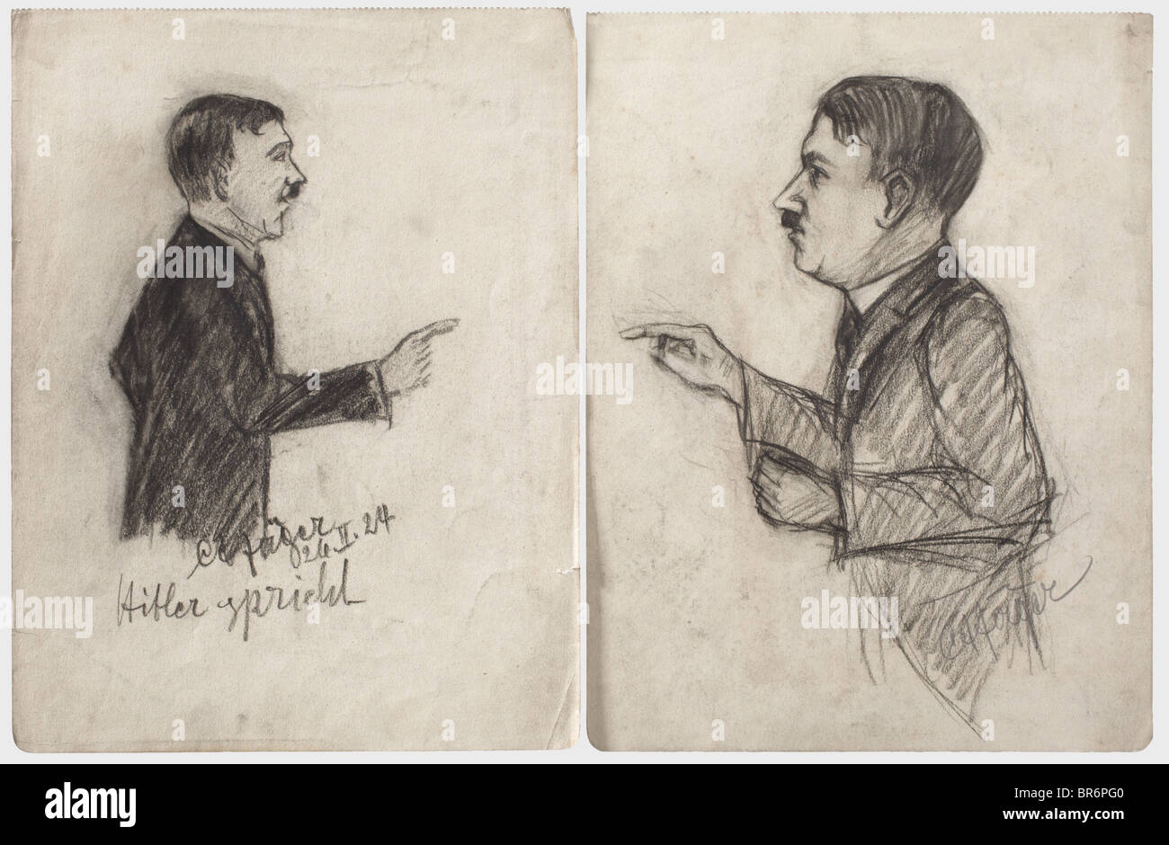 Hitler trial 1924 - sketches from the court room., 19 drawings by the trial observer Carl August Jäger made at the Stock Photo