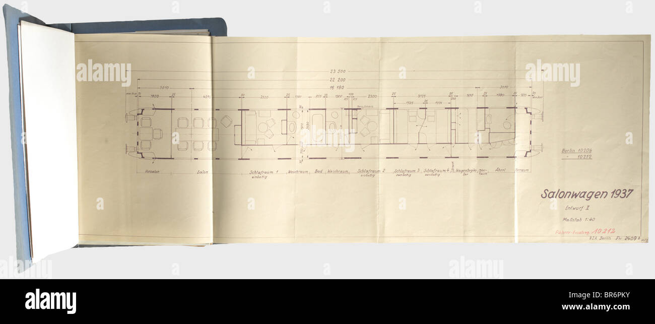 Plans for the 'Führer's Train'., Nine original blueprints of plans for the Reich's Government - Stock Image