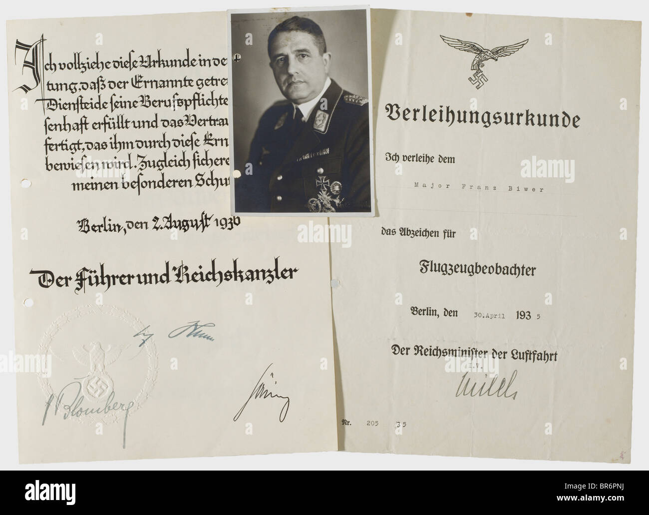 Brigadier Franz Biwer - award documents and possession certificates, for the Iron Cross 1st and 2nd Class of 1914, - Stock Image