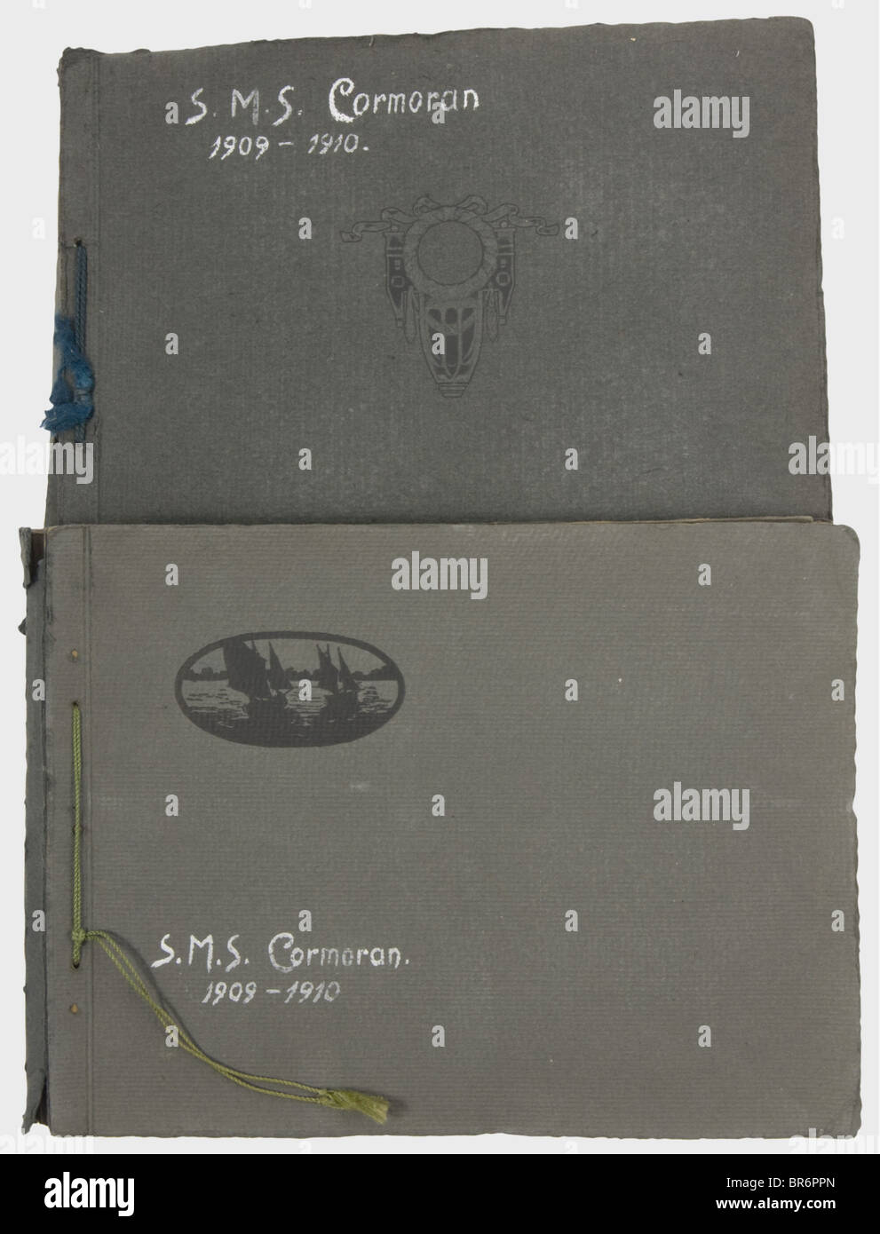 Two photo albums for the S.M.S. 'Cormoran'., Ca. 188 original photographs and 222 picture postcards of the - Stock Image