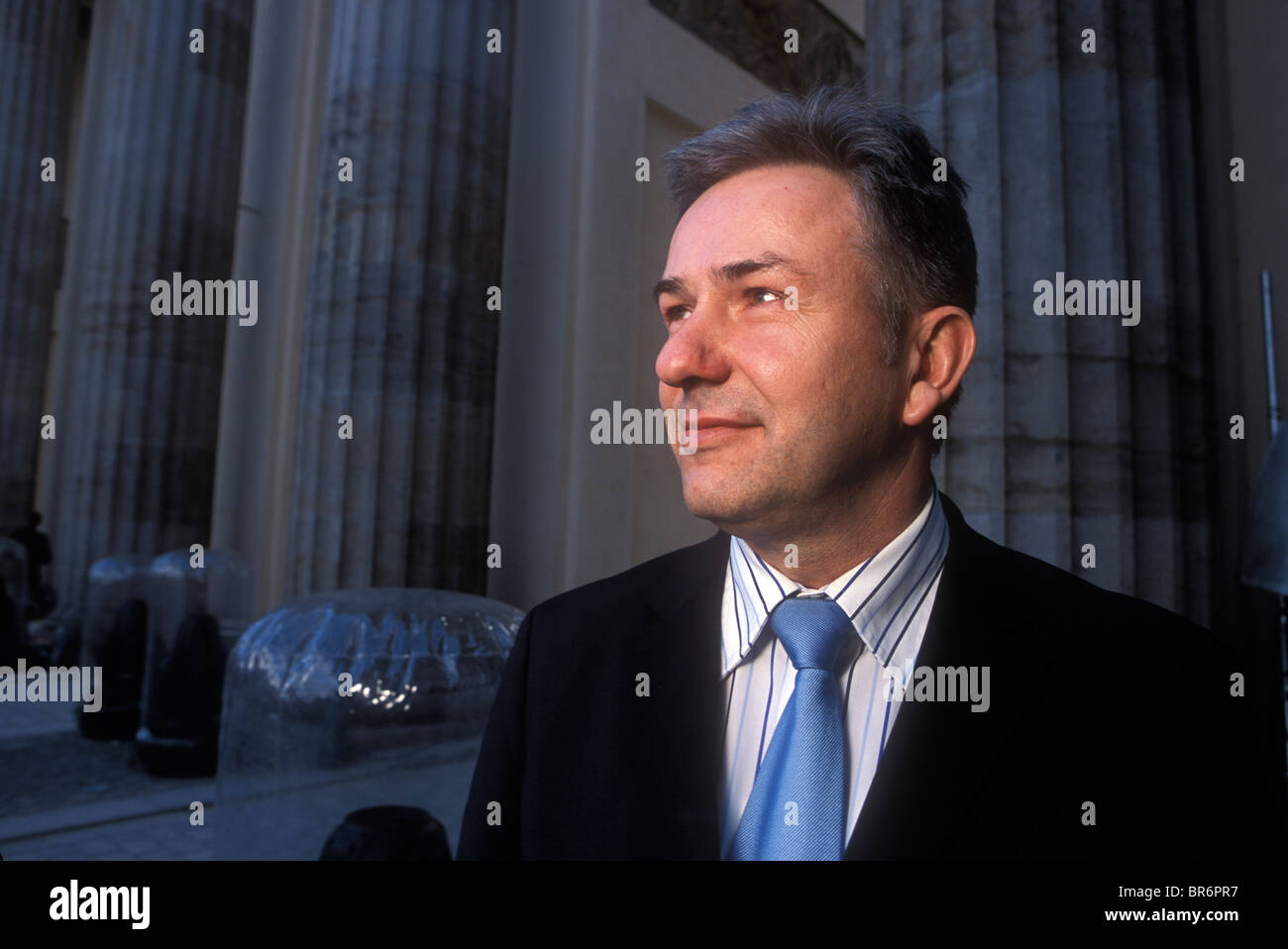 Berlin - Mayor Wowereit of Berlin Germany poses in front of the Brandenburg gate. Stock Photo