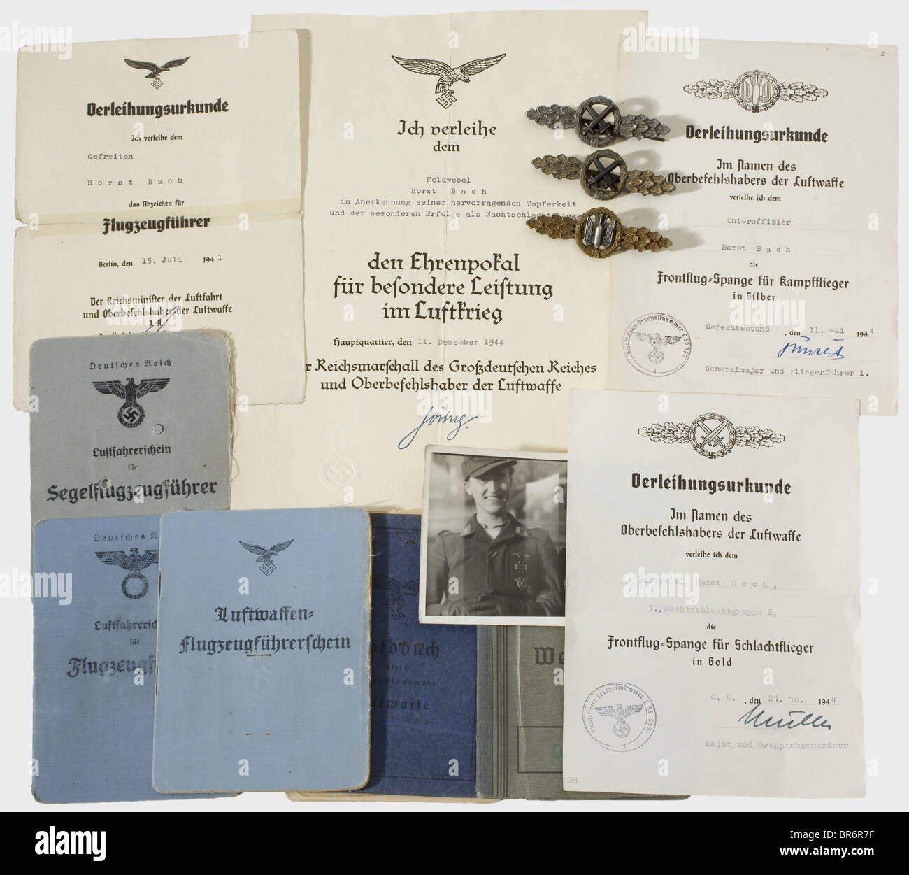 Decorations and documents for a night fighter pilot., Certificate ...