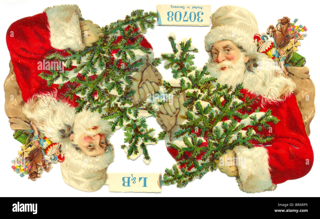 Chromolithographed die cut scrap of Father Christmas published by L & B No 307008 (Littauer & Boysen) - Stock Image