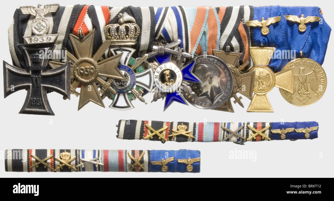 Colonel Friedrich Winter - an eight-piece medals bar, and two field orders clasps. Iron Cross 2nd Class of 1914, - Stock Image