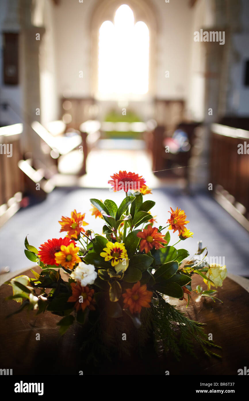 flowers in a church - Stock Image