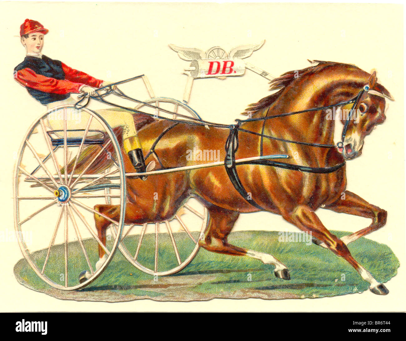 Chromolithographed die cut scrap of trotting horse - Stock Image