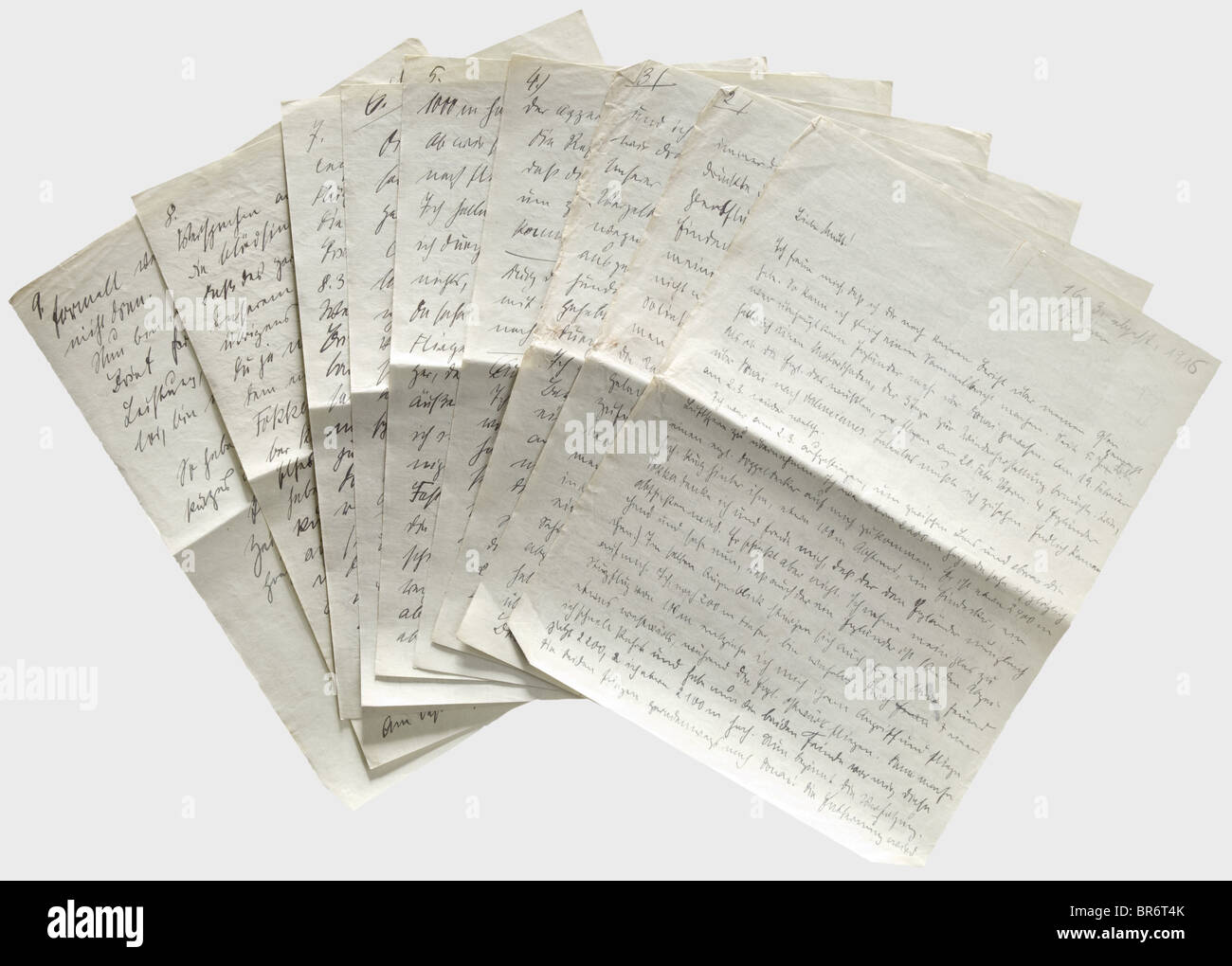 First Lieutenant Max Immelmann (1890 - 1916) - an important and detailed letter from 16th March 1916 dealing with Stock Photo