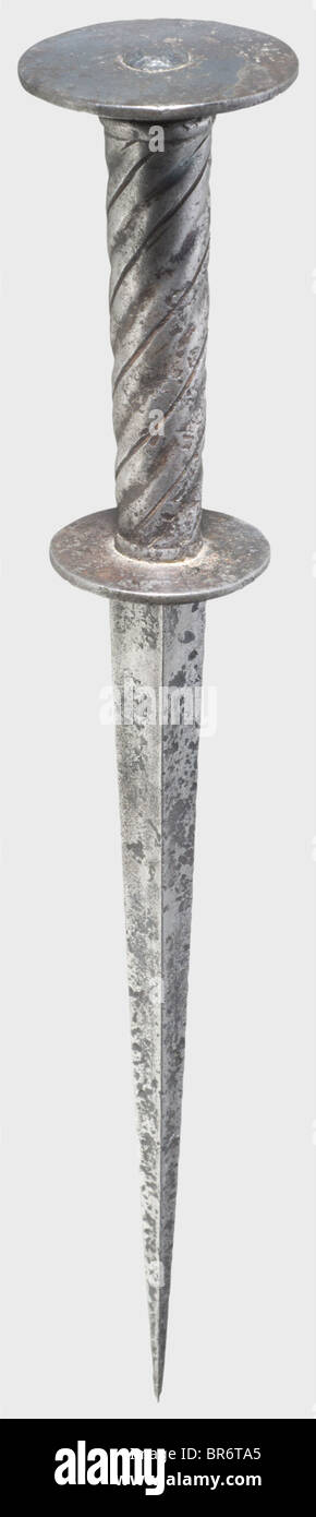 A German roundel dagger, first half of the 16th century. Strong, tapering blade of hollow quadrangular section. - Stock Image