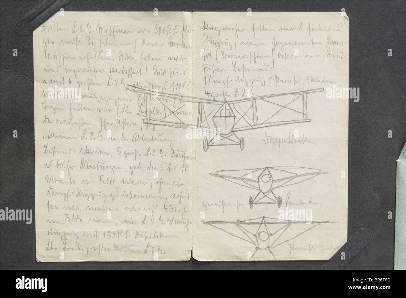 First Lieutenant Max Immelmann (1890 - 1916) - an important letter, to his mother, dated 17.7.1915, with aircraft Stock Photo