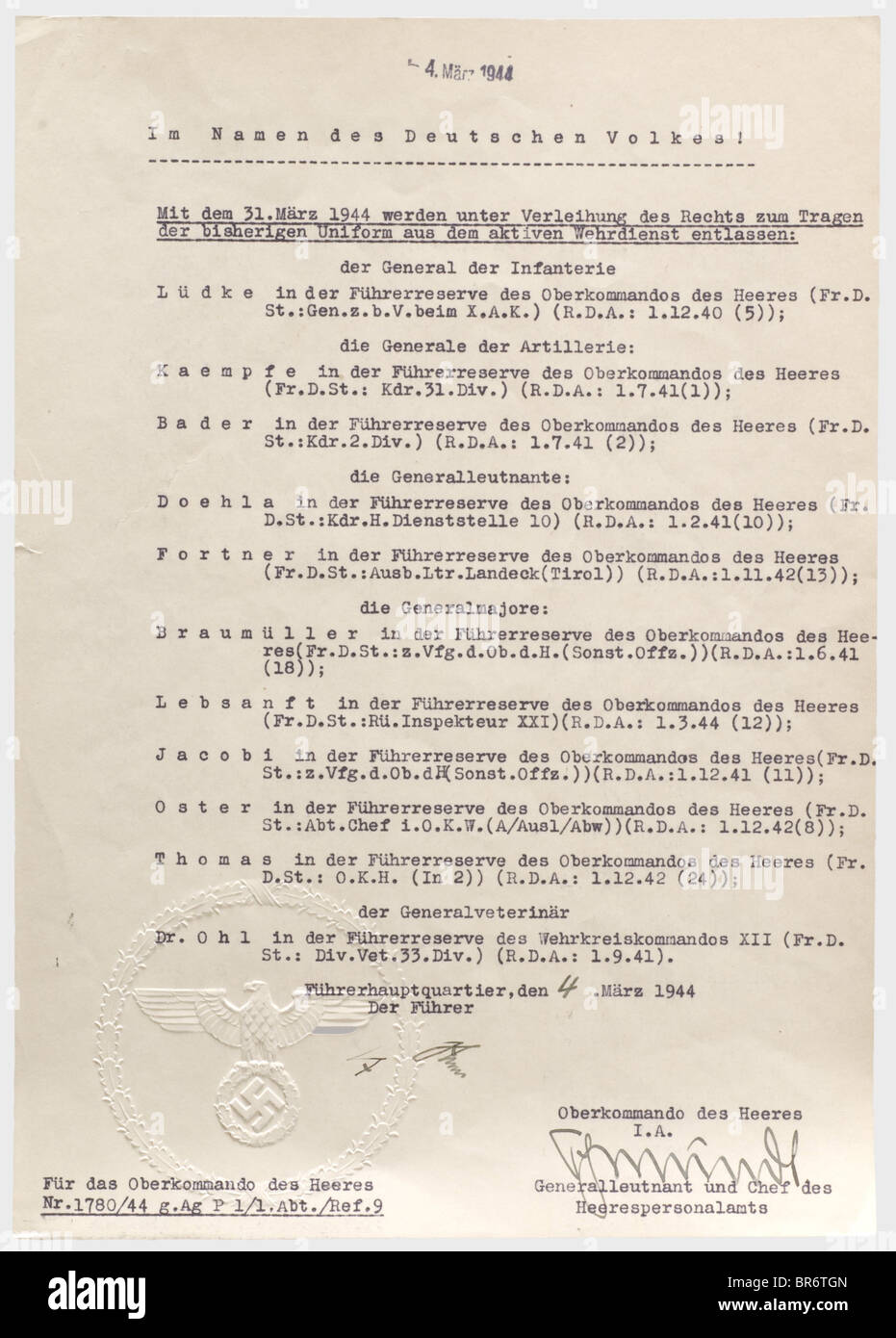 Adolf Hitler - an order of dismissal for eleven generals, effective on 31st March 1944. Dismissed from active service - Stock Image