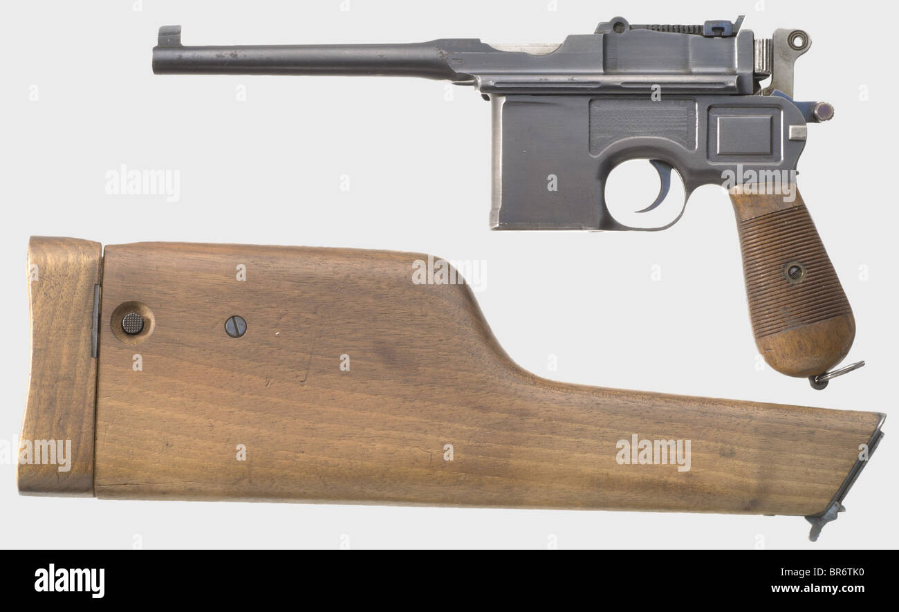 A Mauser C 96 Small Hammer, 'Scandinavian Contract', with detachable stock, 7.63 mm cal., no. 9932. Externally - Stock Image