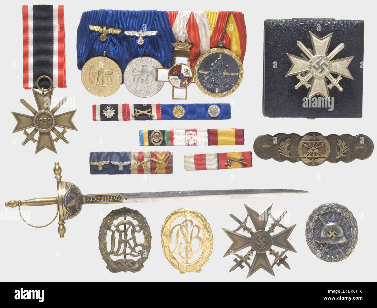 Awards of a Spanish campaigner, Spanish Cross in Bronze, reverse punched 'L/11'. War Merit Cross 1st Class - Stock Image