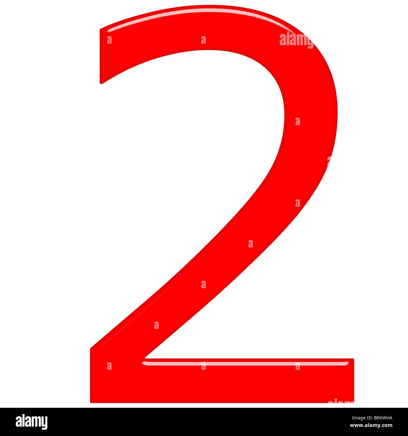 Illustration Of 3D Red Number 2  |Red Number 2
