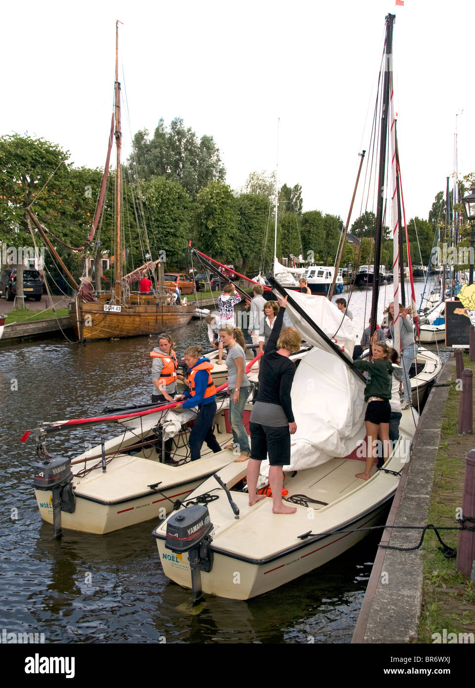 IJlst near Sneek Friesland Netherlands sail boat instruction school lessons - Stock Image
