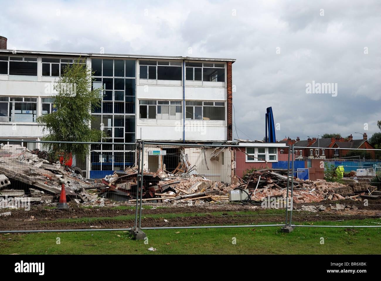 Nottingham school being demolished river leen comprehensive england uk - Stock Image