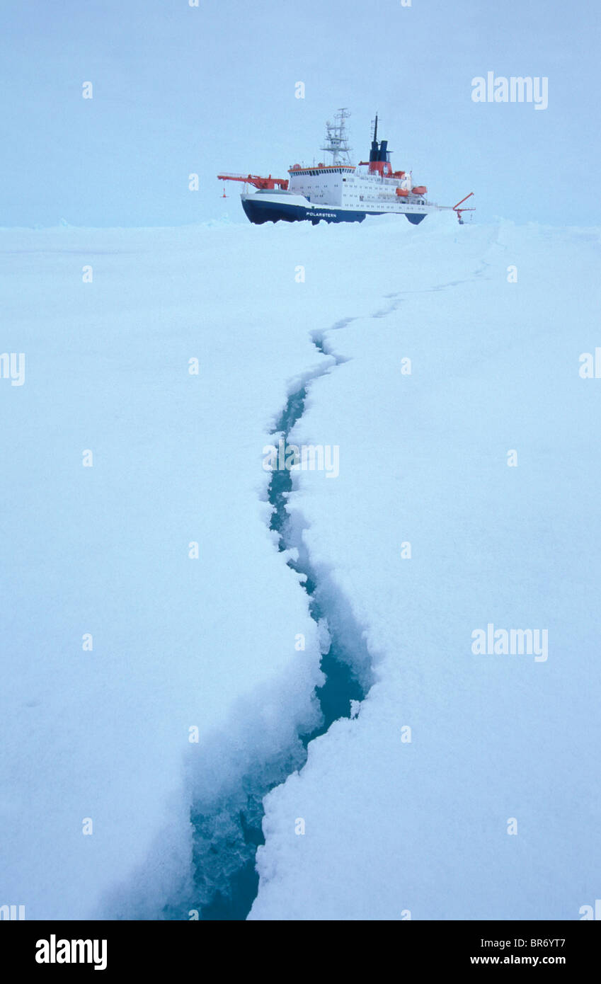 Crack in ice floe in front of icebreaker ship Polarstern. ISPOL (ICE Station Polarstern) Expedition 2004/2005 from - Stock Image