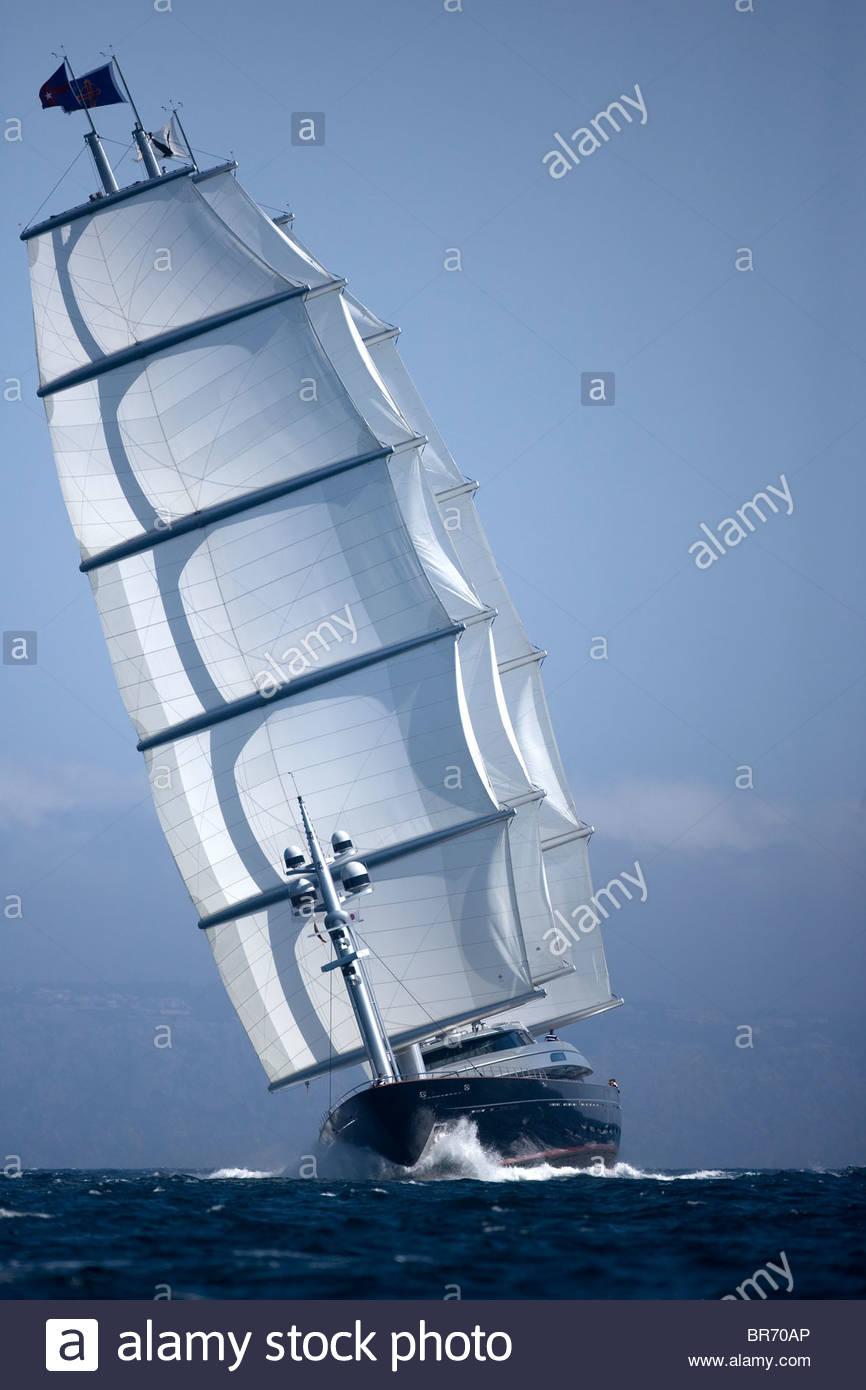 The Maltese Falcon designed by Dijkstra and Perini Novi, length 88m sailing upwind. The Superyacht Cup, Palma de Stock Photo