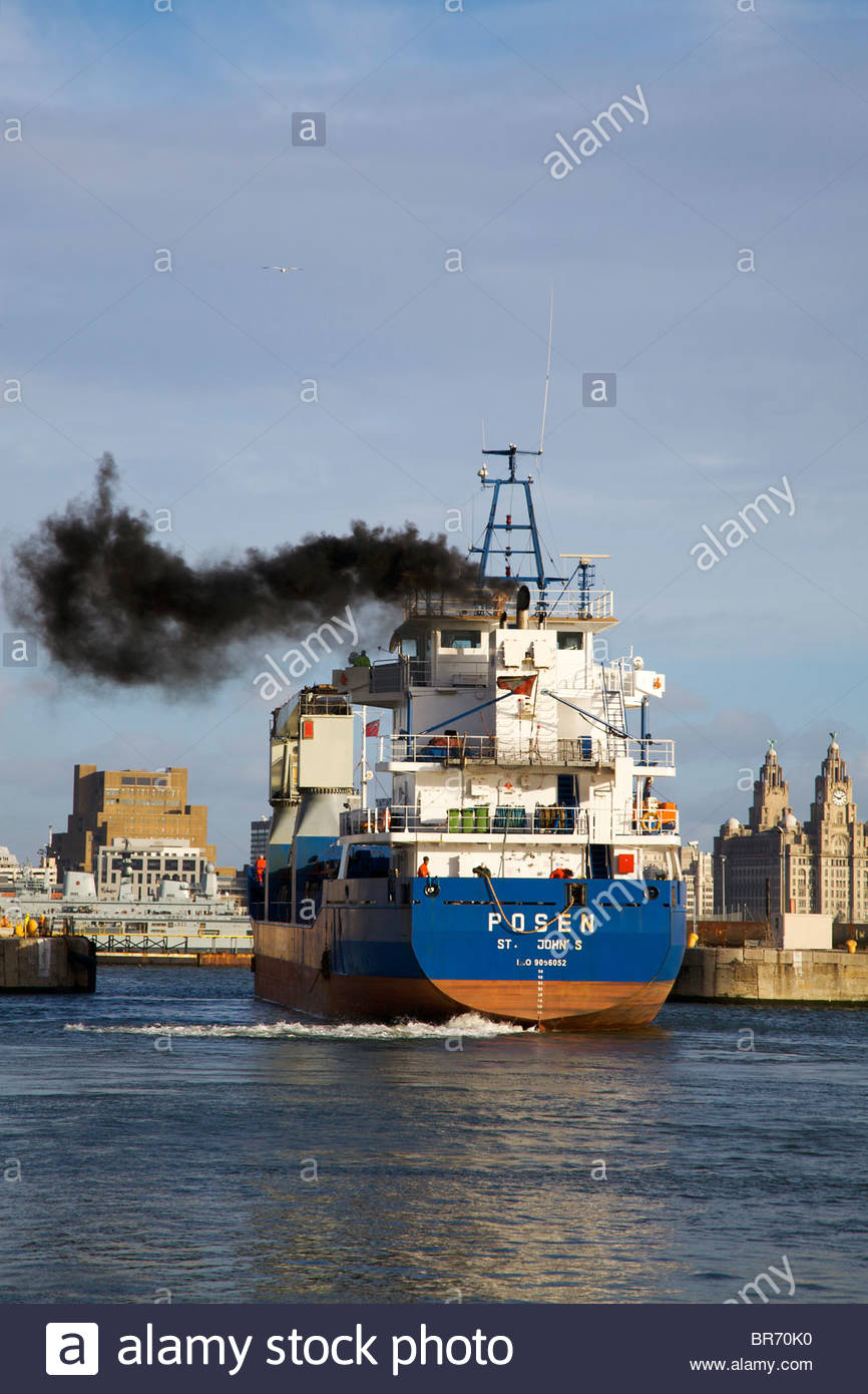 "Cargo vessel ""Posen"", built in 1993, leaving Birkenhead dock system, Merseyside, UK. February 2009. Stock Photo"