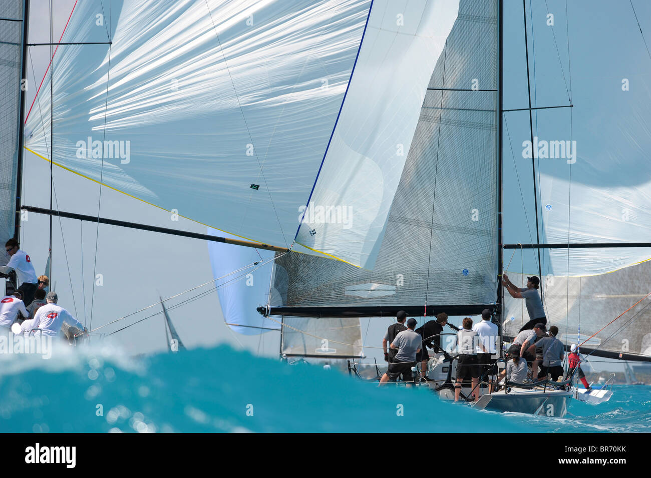 Farr 40 downwind during a race at the 2009 Acura Miami Grand Prix, day 3, 7th March. - Stock Image