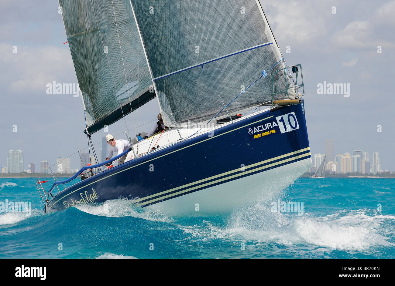 Farr 40 'Barking Mad' during a race at the 2009 Acura Miami Grand Prix, day 4, 8th March. - Stock Image