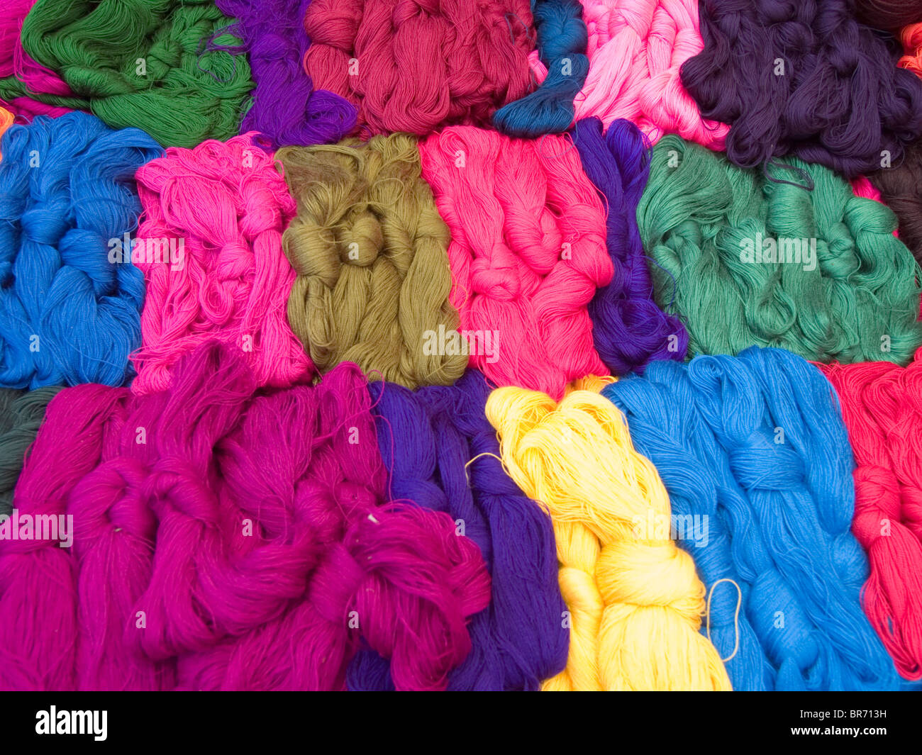 Colorful yarn for sale in the main market in Solola Guatemala. - Stock Image