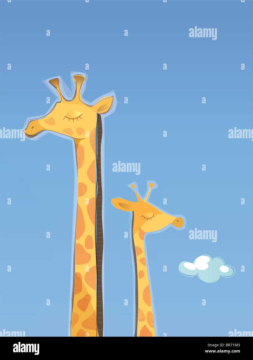 An illustration of a mother and child giraffe Stock Photo