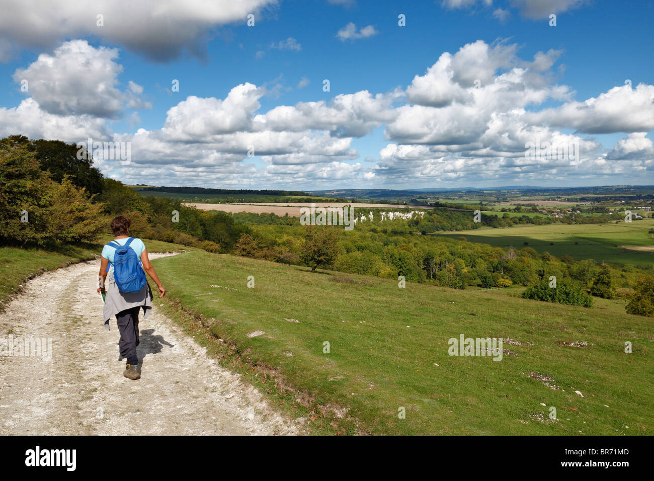 Woman walking along the South Downs. - Stock Image