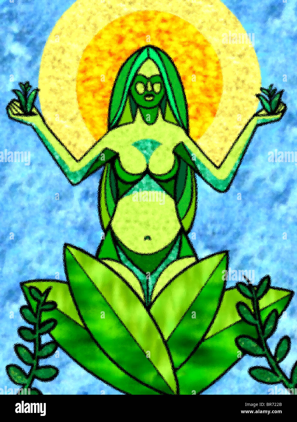 A graphical representation of mother earth - Stock Image
