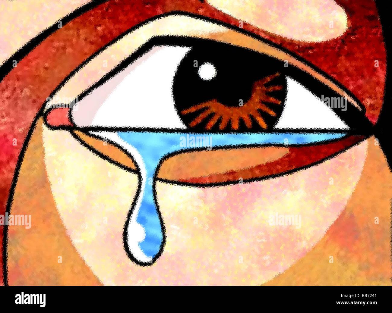 A graphical representation of sadness - Stock Image