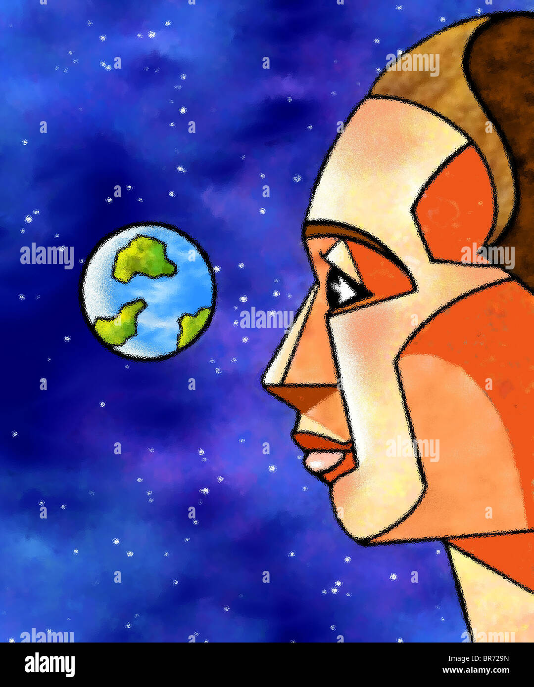 An illustration of a man in outerspace looking back at the earth - Stock Image