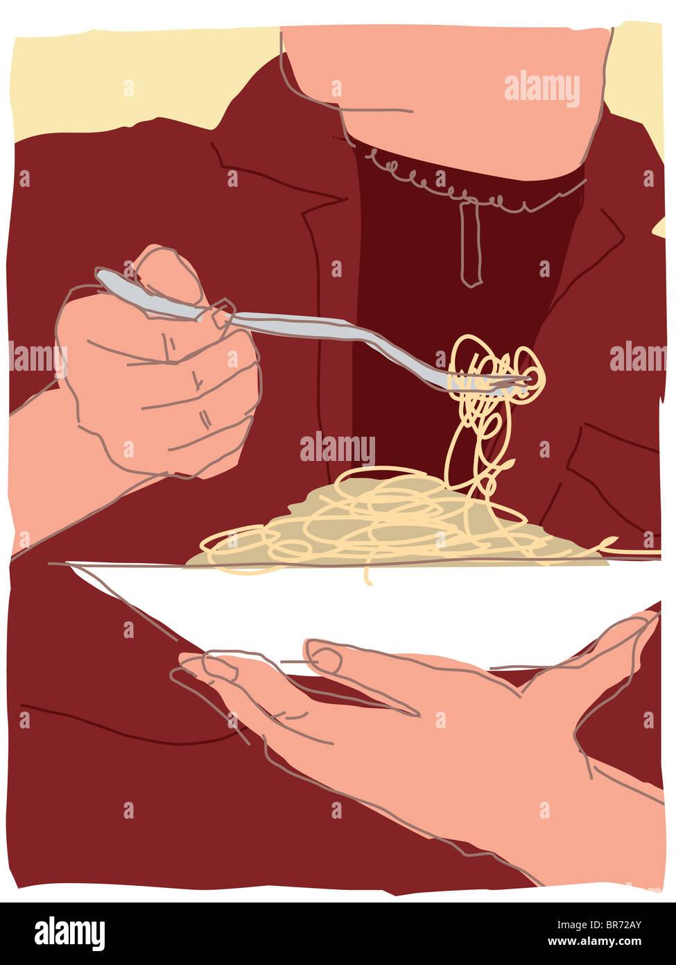 eating pasta - Stock Image