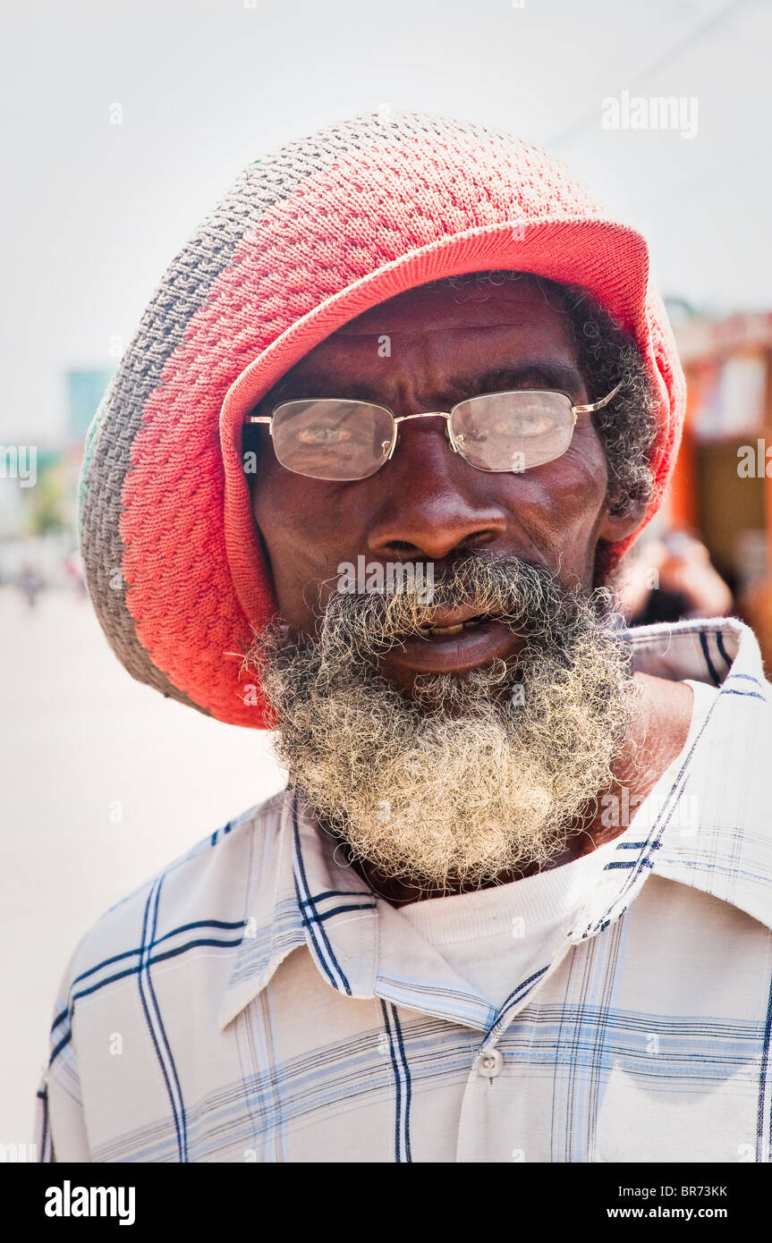 Senior Garifuna Rastaman on the Livingston streets, Izabal, Guatemala, Central America. - Stock Image