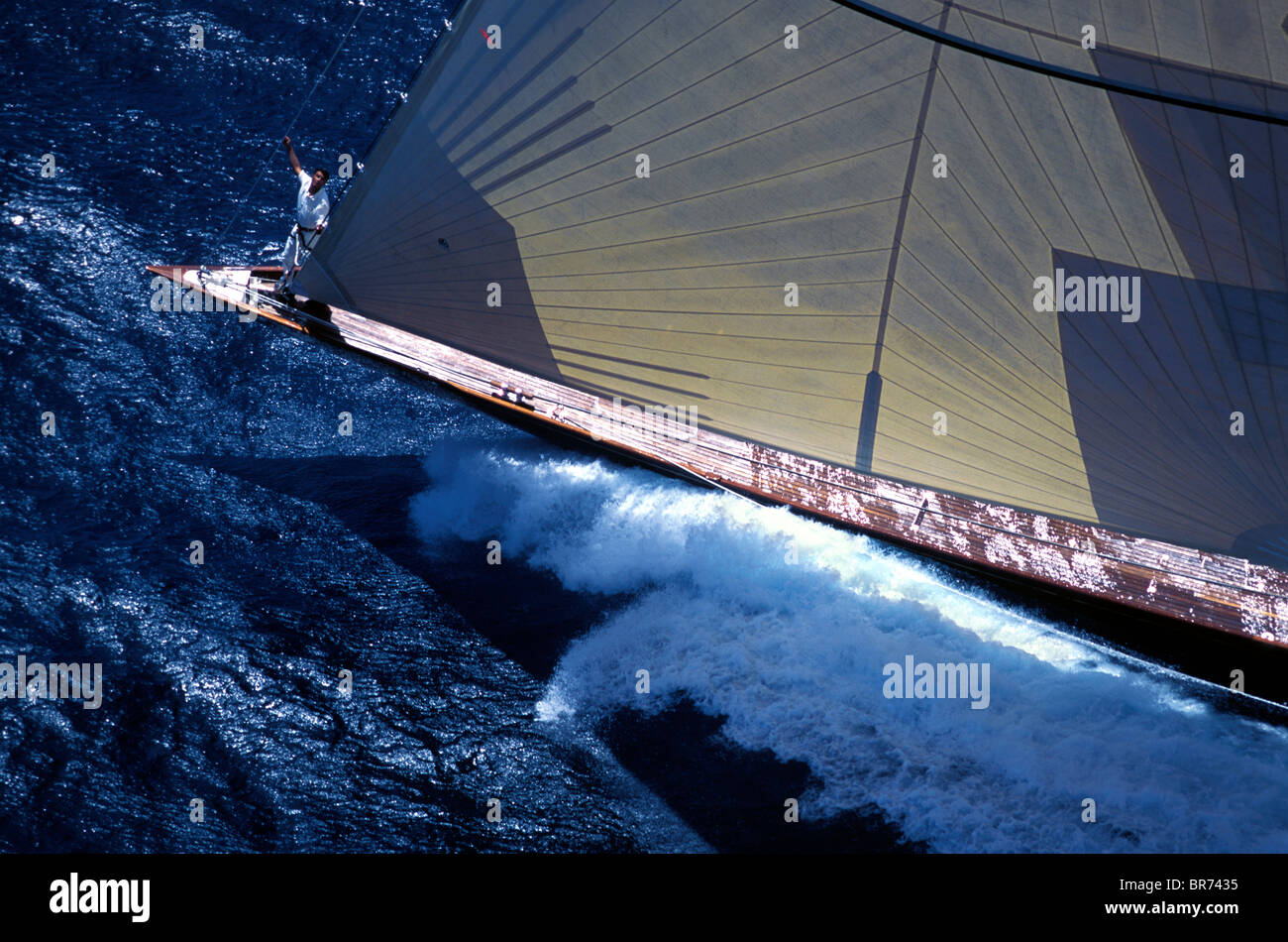 "Bowman aboard the J-Class ""Velsheda"", Antigua Classics, 1999. Stock Photo"