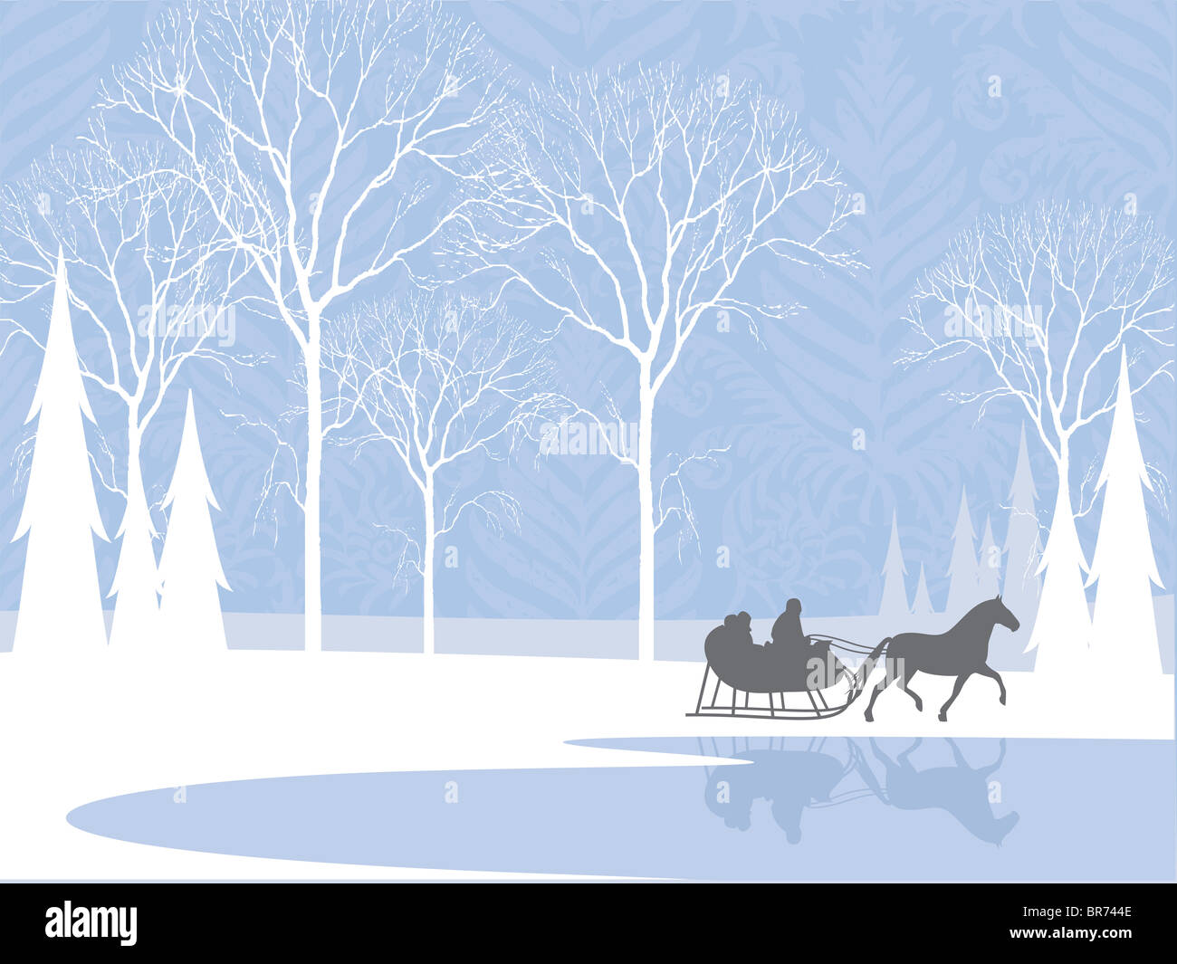 Silhouette of a horse-drawn sleigh ride by a lake in the snow Stock Photo
