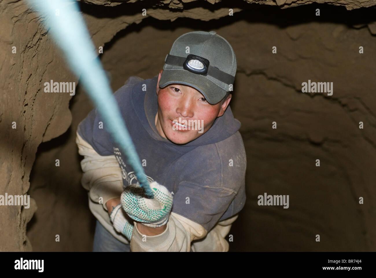 Artisan gold mining Mongolia - Stock Image