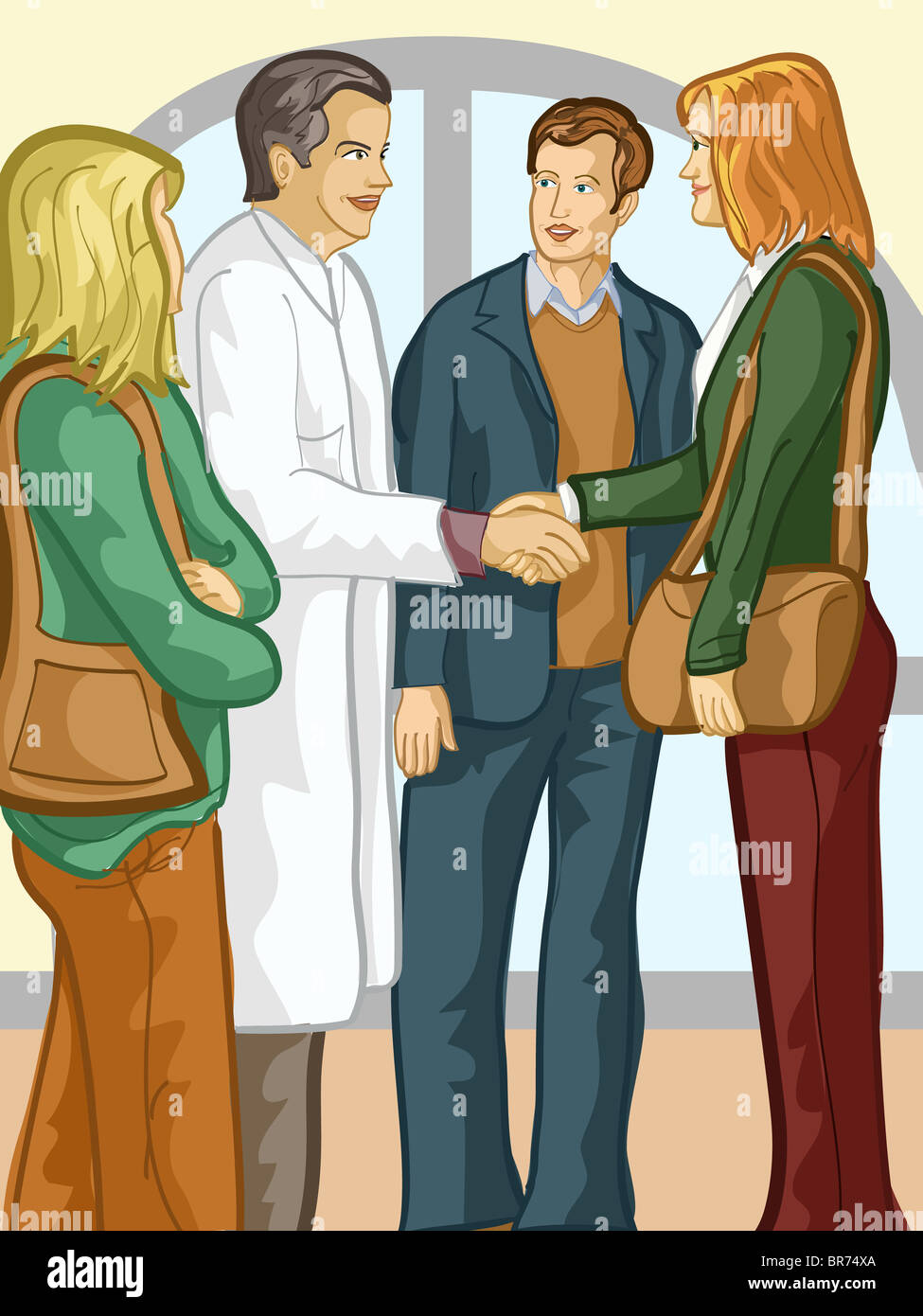 A group of family members speaking with a doctor - Stock Image