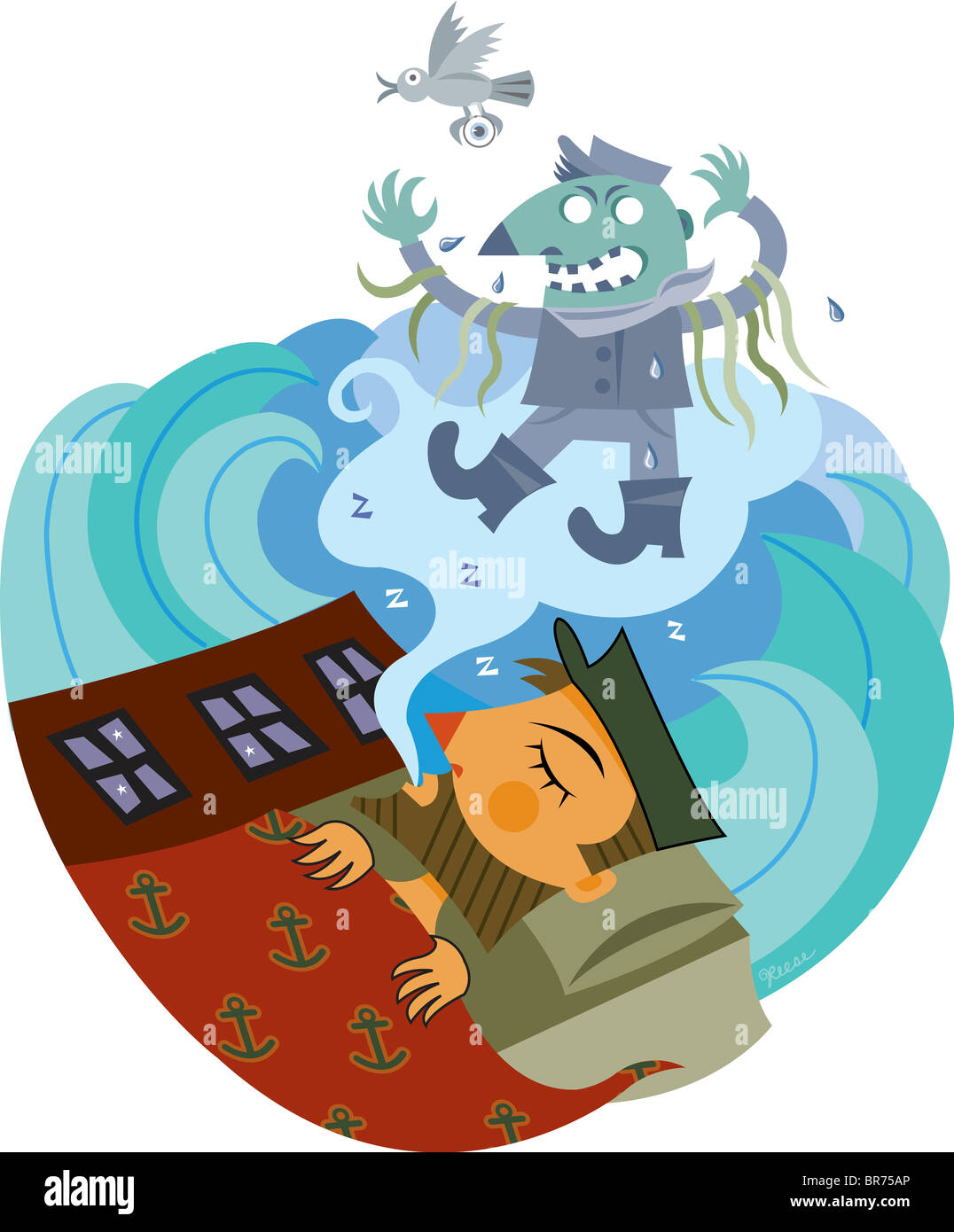A boy dreaming of a ghoulish sea captain character - Stock Image