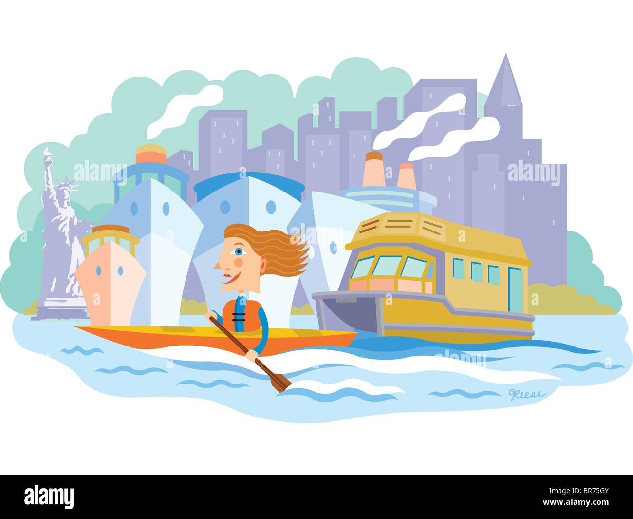 A woman canoeing in the water with ships and boats and New York City behind her - Stock Image