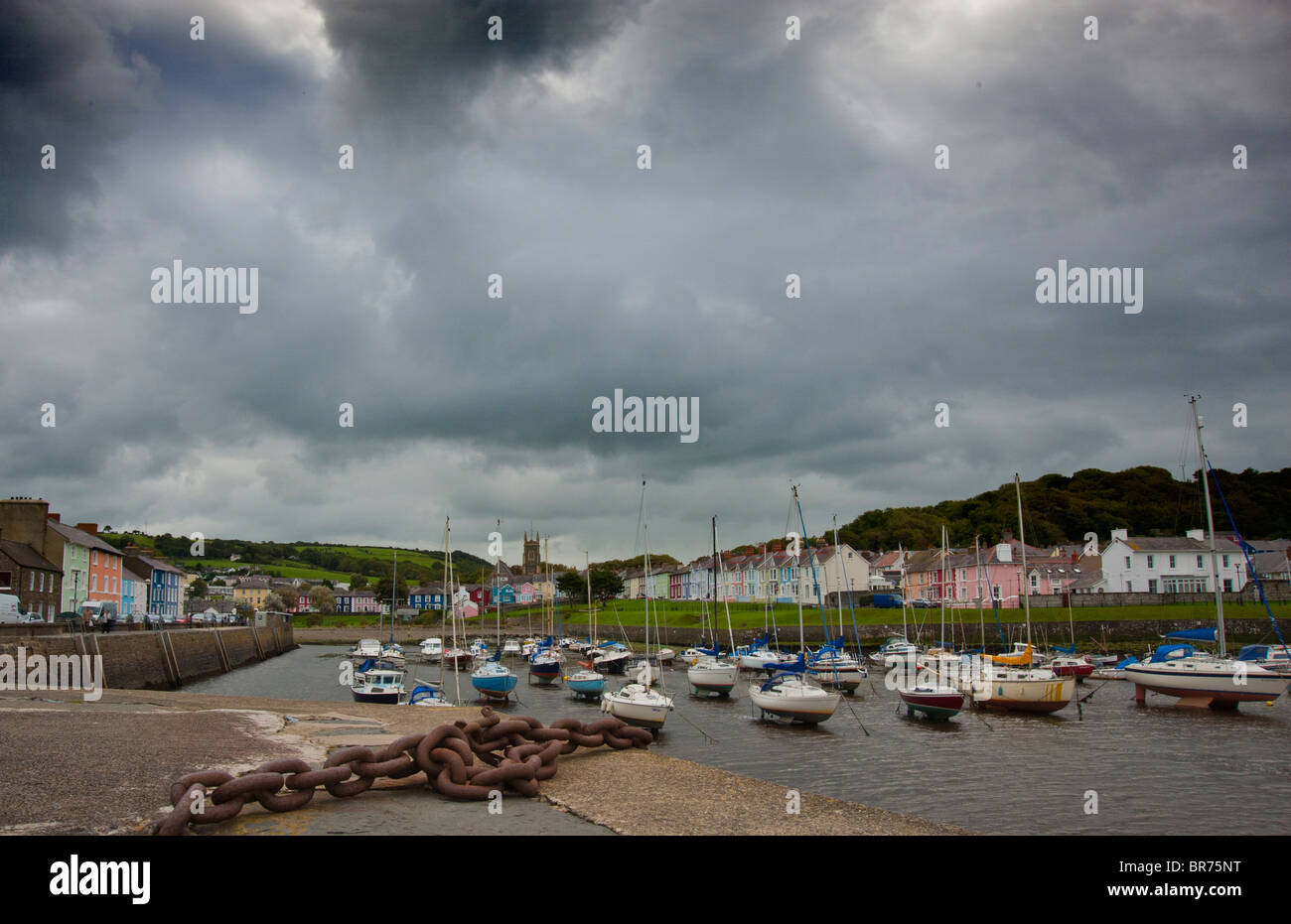 the harbor aberaeron - Stock Image