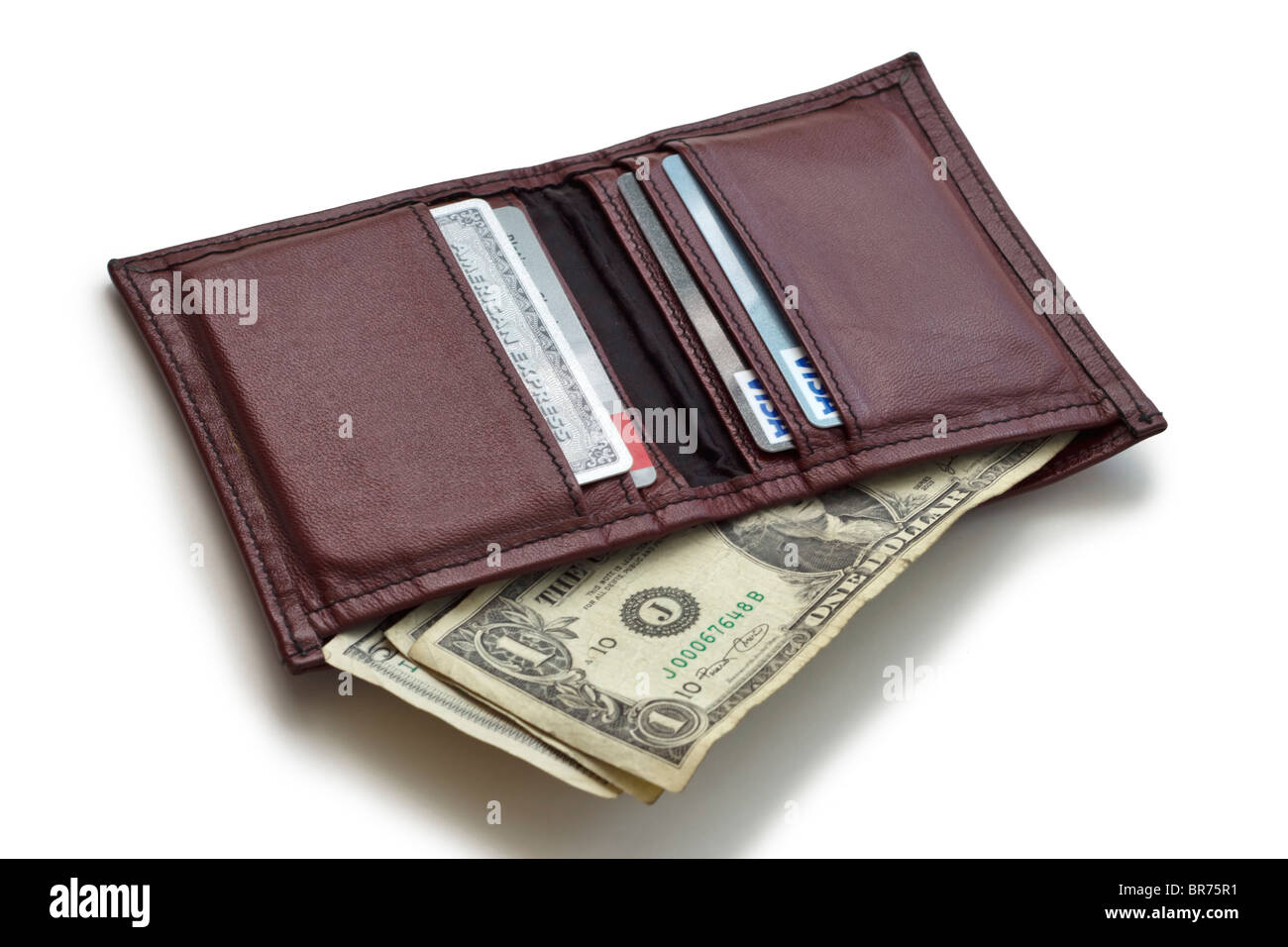 Wallet with money and credit cards - Stock Image