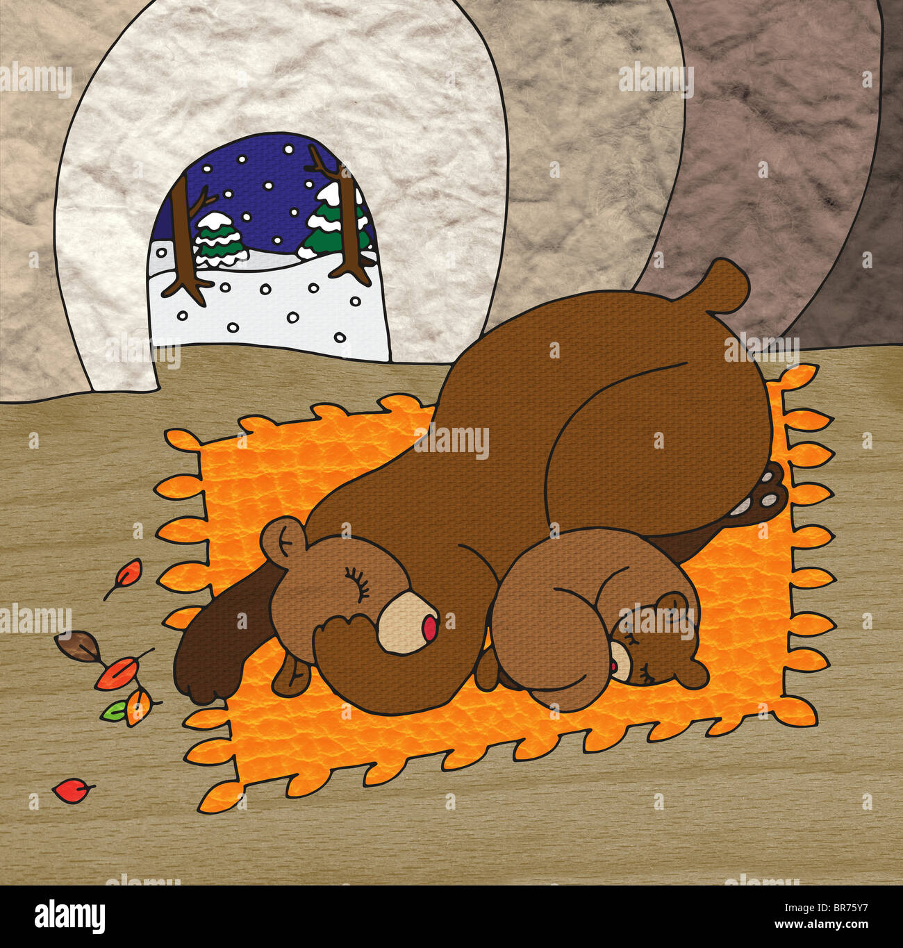 A mother bear and cub sleeping in a cave and snow outside - Stock Image