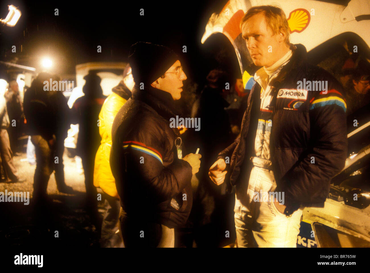 Ati Vatanen being interviewed at a service halt on 1985 Monte Carlo Rally - Stock Image
