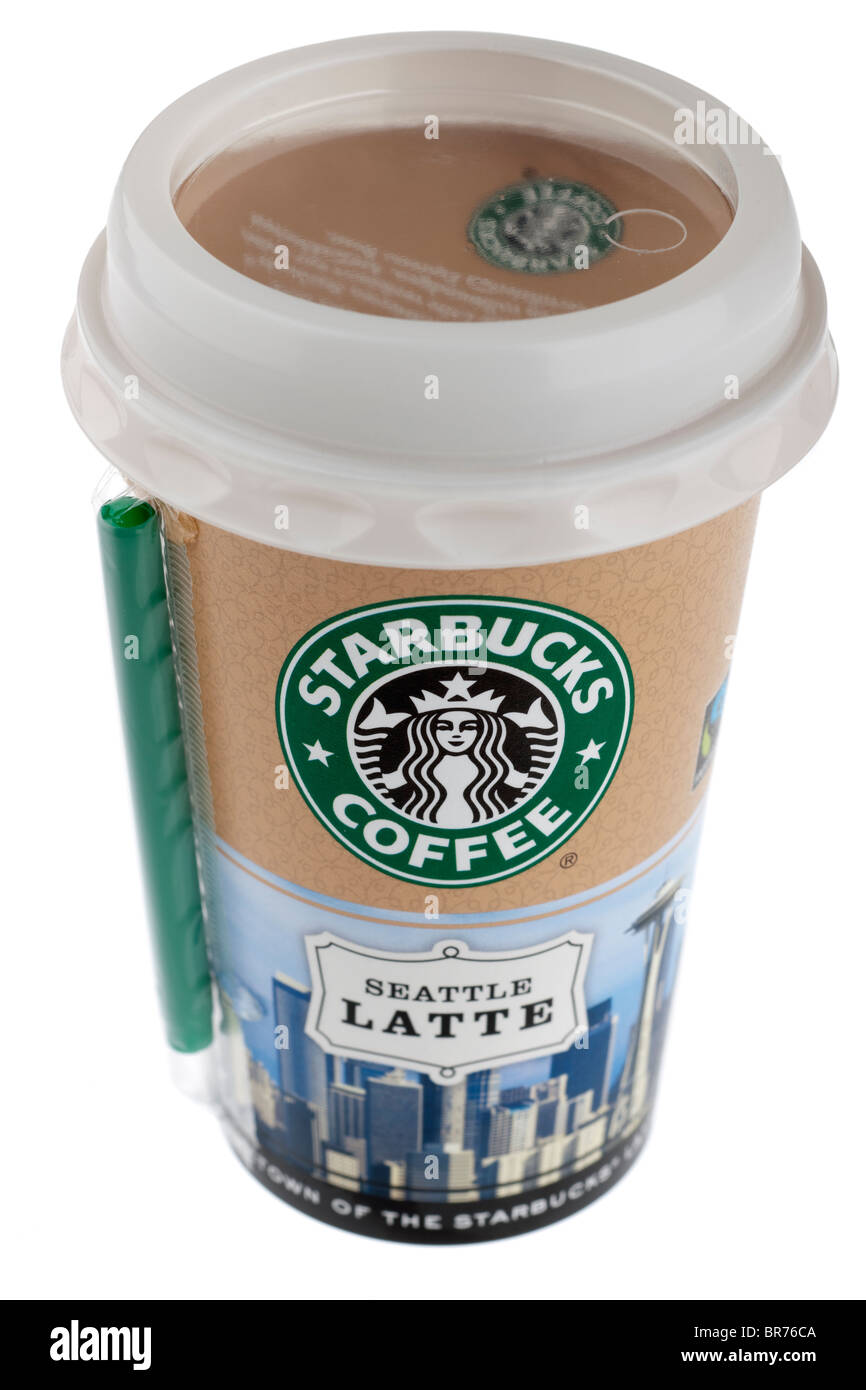 Sealed carton of drink cold Starbucks Discoveries coffee Seattle Latte with straw - Stock Image