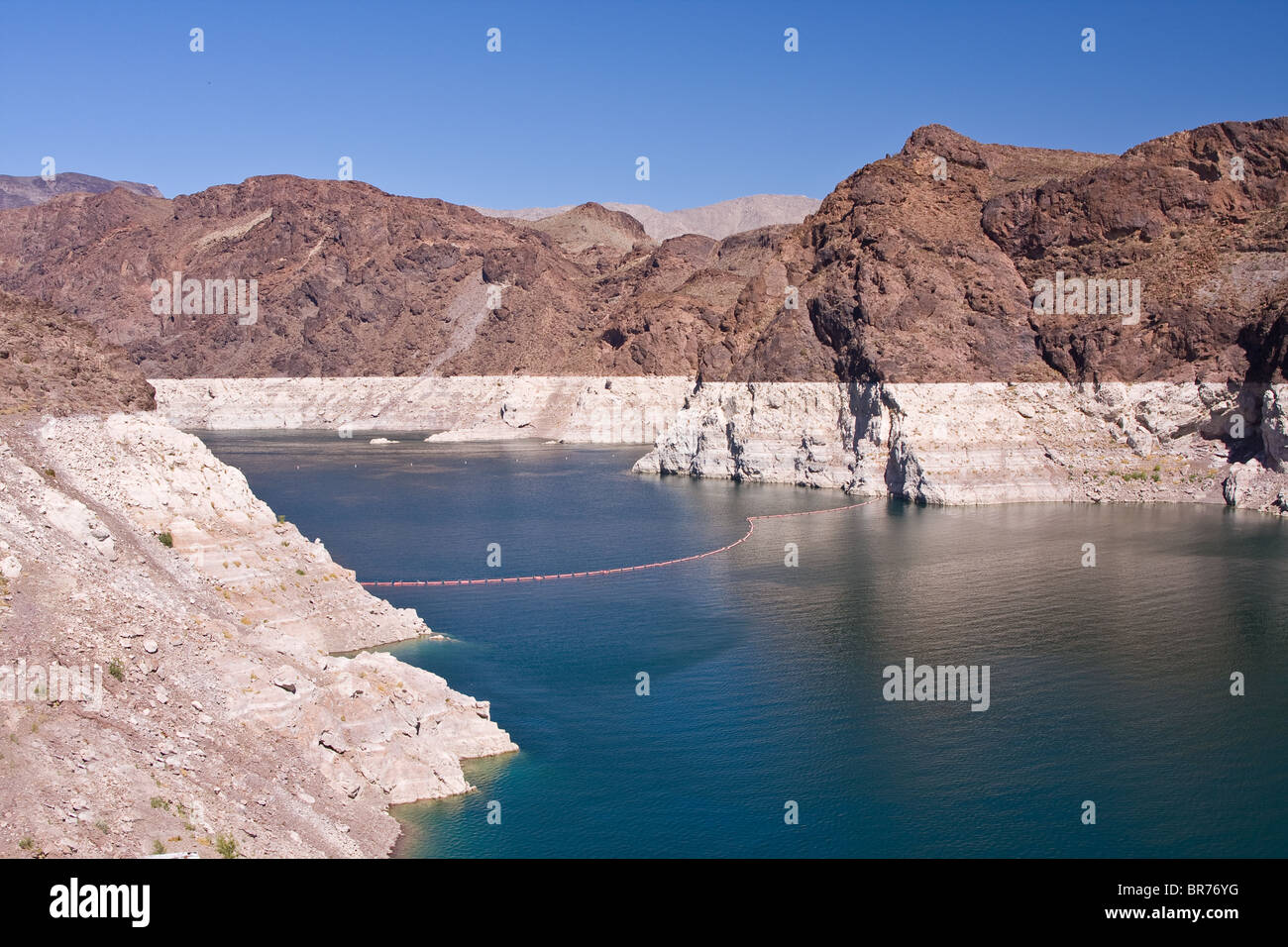 View of Lake Mead from Hoover dam with extremely low water level - environmental concept Stock Photo
