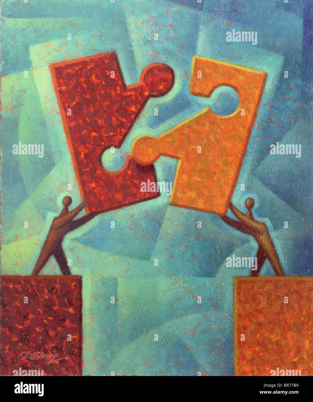 piecing the puzzle together - Stock Image