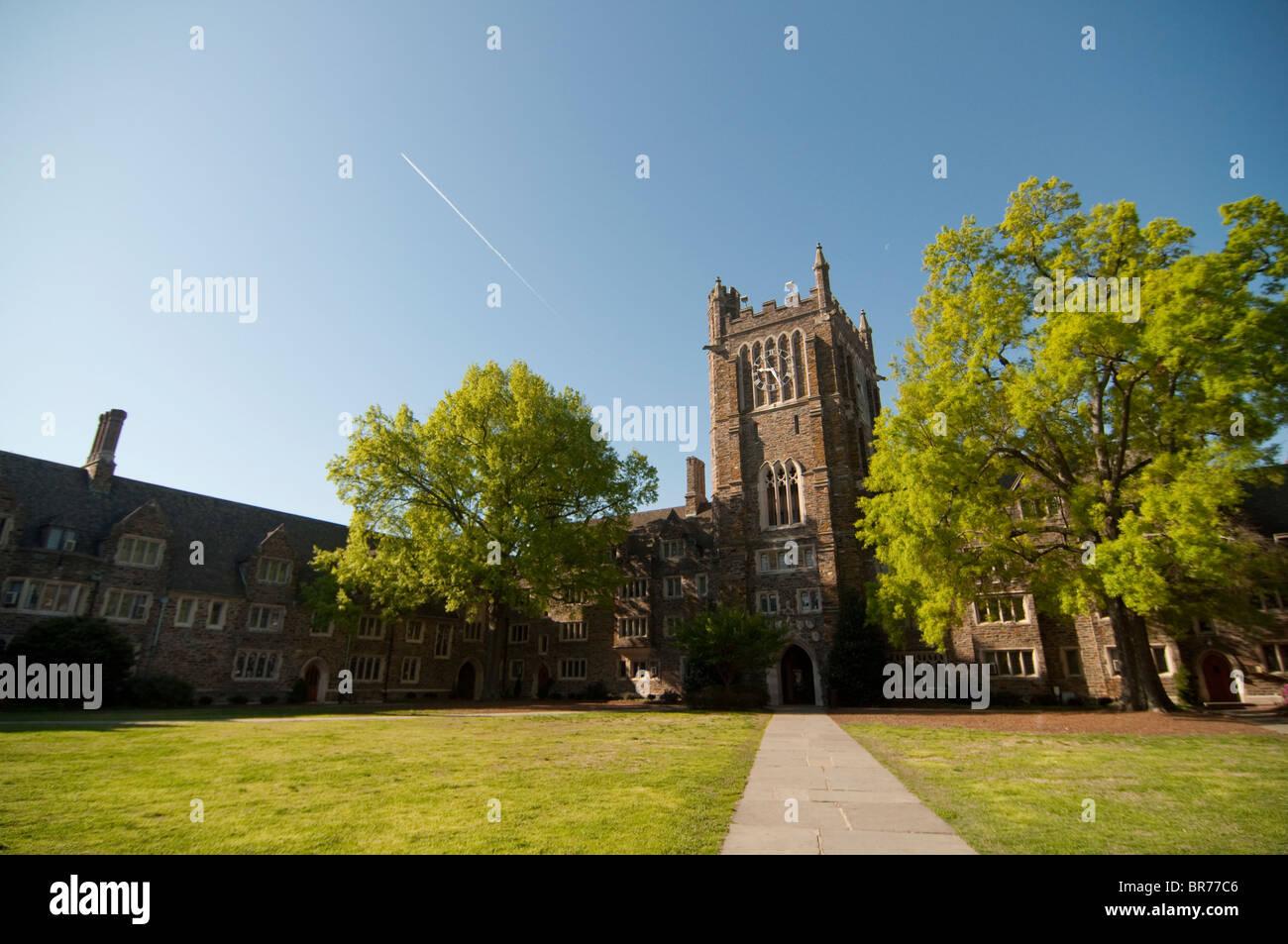 Clocktower Quad on Duke University's West Campus in Durham, North Carolina, USA. Stock Photo